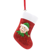Elf With Sock Ornament Personalized Christmas Tree Ornament