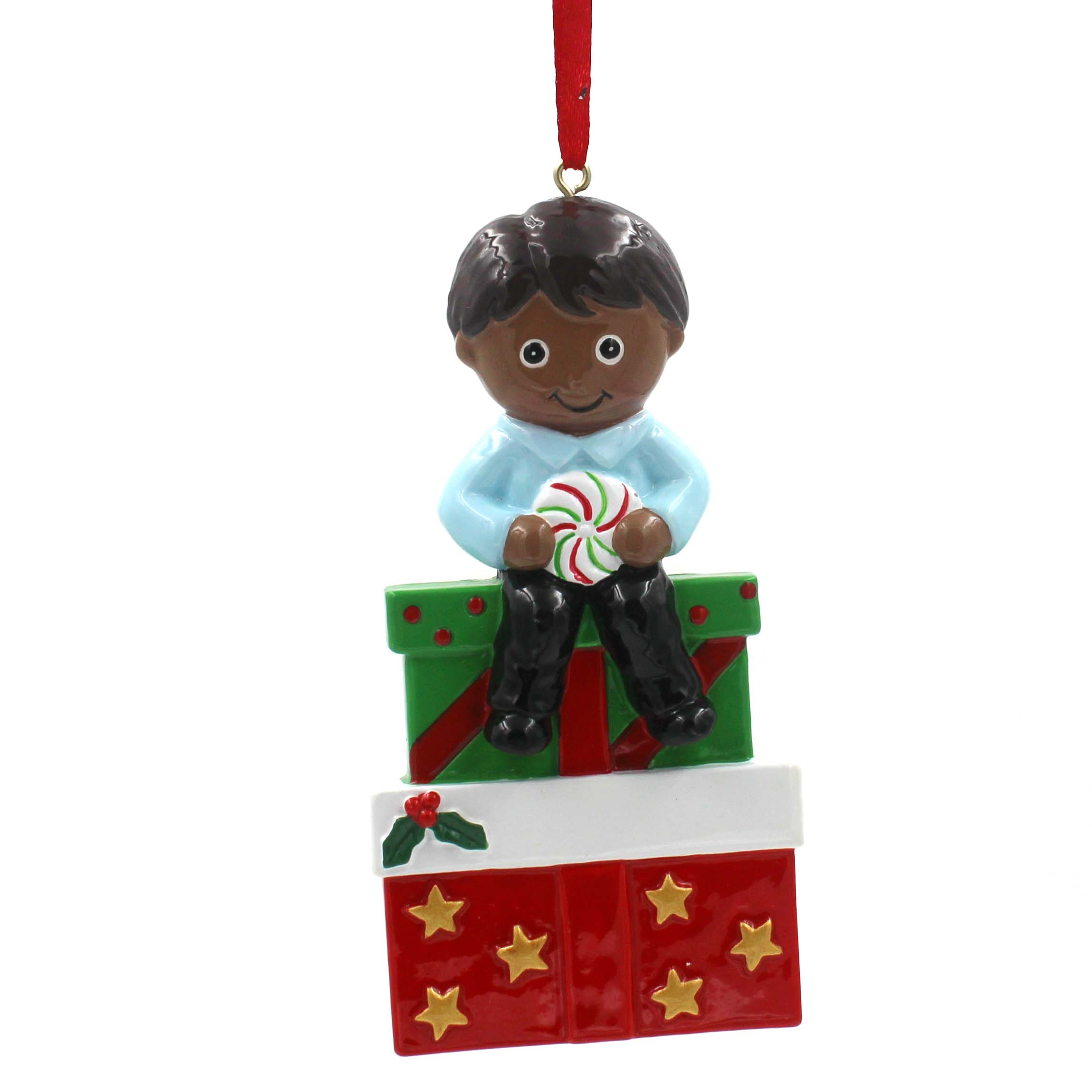 Gift Box With Boy Ornament Personalized Christmas Tree Ornament