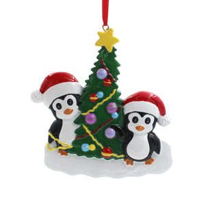 Penguin With Tree Family Of 4 Personalized Christmas Tree Ornament