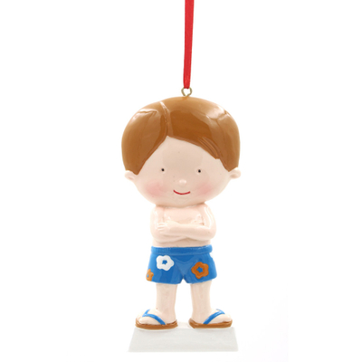 Boy In Summer Ornament Personalized Christmas Tree Ornament