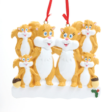 Squirrel Family Of 6 Personalized Christmas Tree Ornament