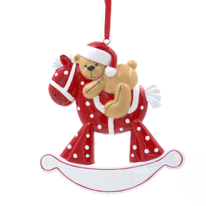Baby Rocking Horse With Bear Personalized Christmas Tree Ornament