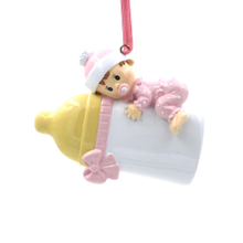 Baby With Bottle Personalized Christmas Tree Ornament
