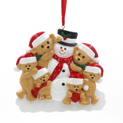 Snowman With Bear Family Of 6 Personalized Christmas Tree Ornament