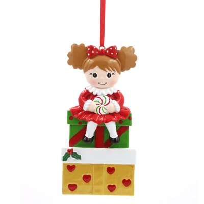 Girl With Gifts Ornament Personalized Christmas Ornament