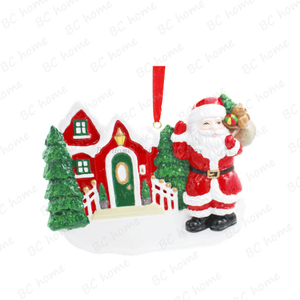 Santa Claus With Xmas House Ornament Personalized Christmas Tree Ornament