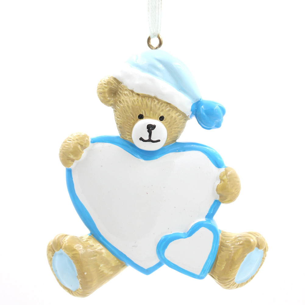 Bear With Heart Ornament Personalized Christmas Tree Ornament