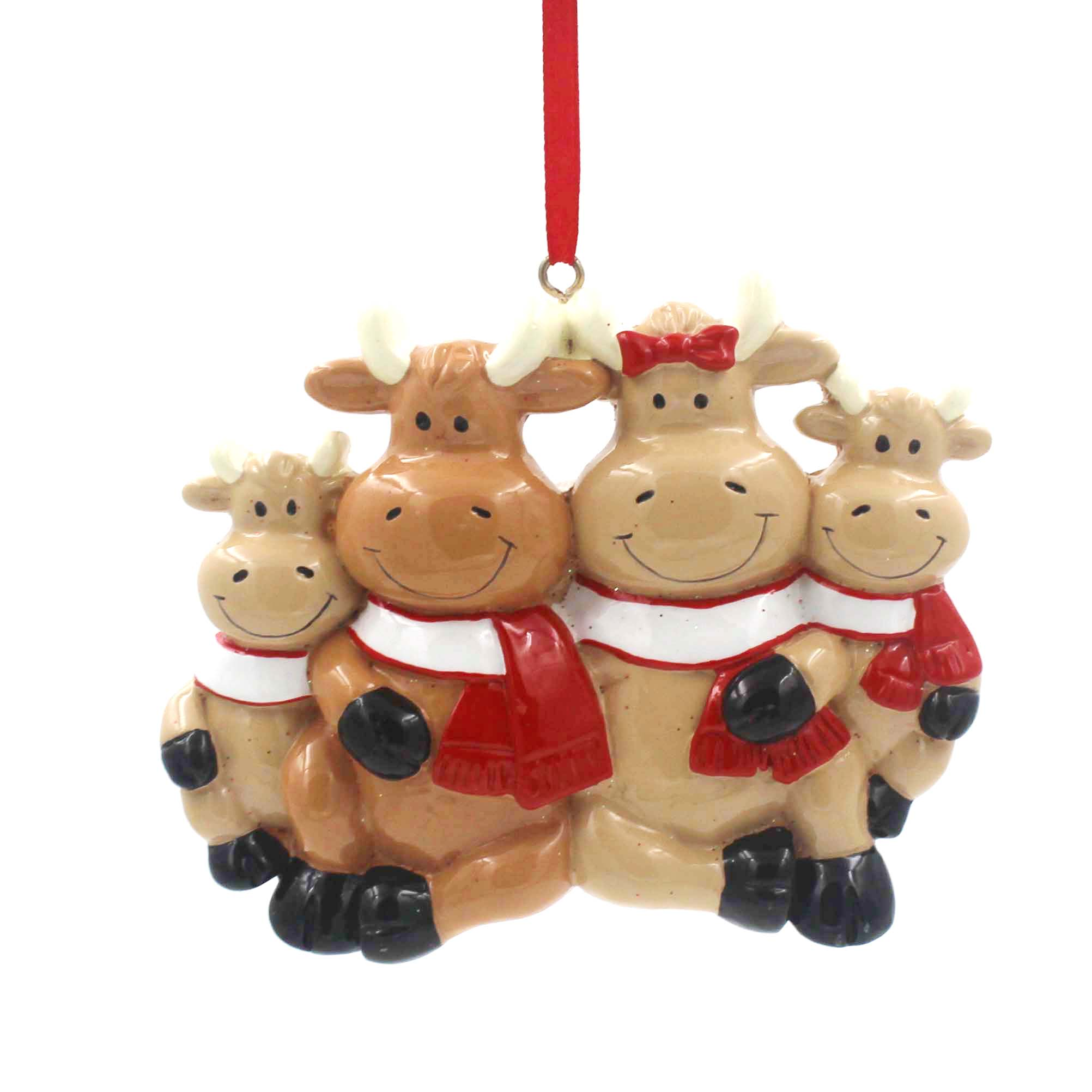 Cattle Family Of 6 Personalized Christmas Tree Ornament