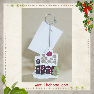 Polyresin Christmas house Business Card Holder