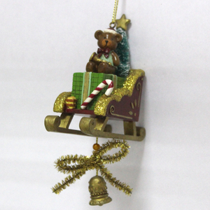 Resin Slegde Christmas tree ornament