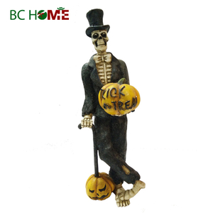 skeleton Man with pumpkin Halloween decorations